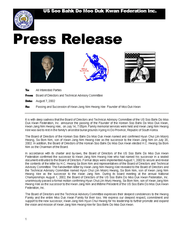Press Release About Founder Kee Hwang's Passing