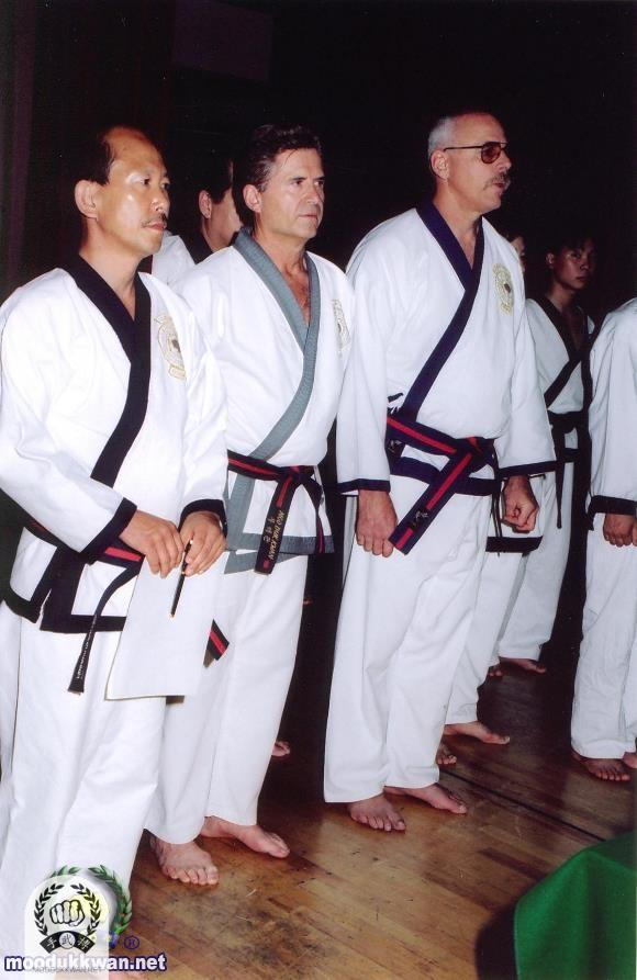 Martinov SBN standing between H.C. Hwang Kwan Jang Nim and Robert Shipley Sa Bom Nim at the 50th Anniversary Demonstration